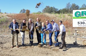 Dirt becomes air born at the Crossings at El Dorado ground breaking ceremony on Oct. 19. Left to right, Palos Verdes Propertie Inc. Developer Leonard Grado, Architect Brian Wichert, Jack Sweeney, CBRE Leasing Specialist Jon Schultz, Mayor Patty Borelli, District 3 Supervisor Brian Veerkamp, Doug Veerkamp, Veerkamp Engineering, Civil Engineer Rick Chavez. Democrat photo by Shelly Thorene