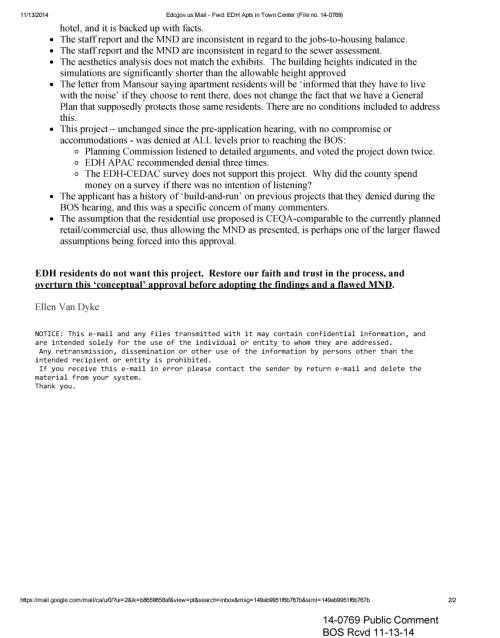 14-0769 - Public Comment Rcvd 11-13-14 BOS 12-2-14