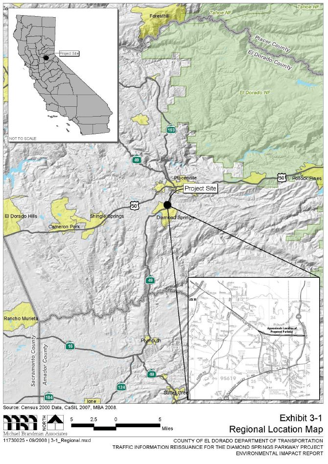 Diamond Springs Parkway project Vicinity Map. Click to enlarge.